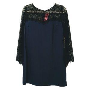 NWT Xhilaration Lace Sleeve Shift Dress Large
